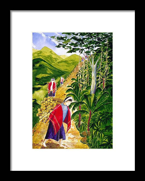 Landscape Framed Print featuring the painting Wood For The Home Fires by Buster Dight