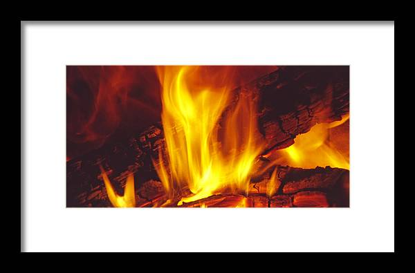 Fire Framed Print featuring the photograph Wood Stove - Blazing Log Fire by Steve Ohlsen