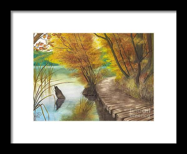 Art Framed Print featuring the painting Woodem Bridge by Alber Assi