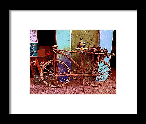 Darian Day Framed Print featuring the photograph Wooden Bicycle by Mexicolors Art Photography