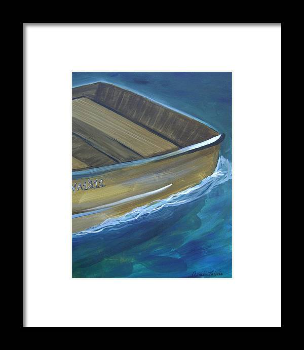 Framed Print featuring the painting Wooden Boat -rear by Amie La Voie-Moore