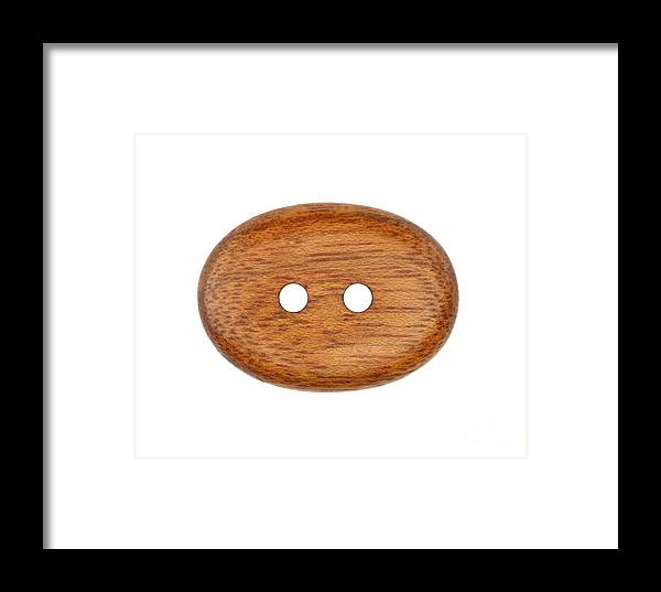 Button Framed Print featuring the photograph Wooden Button by Michal Boubin
