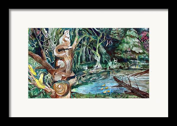 Squirrels Framed Print featuring the painting Woodland Critters by Mindy Newman
