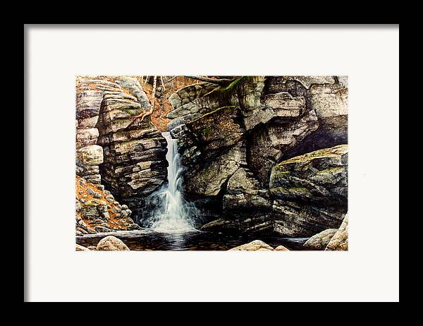 Waterfall Framed Print featuring the painting Woodland Falls by Frank Wilson