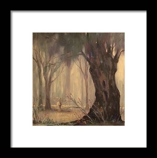 Landscape Framed Print featuring the painting Woodland Fawn by Ruth Stromswold