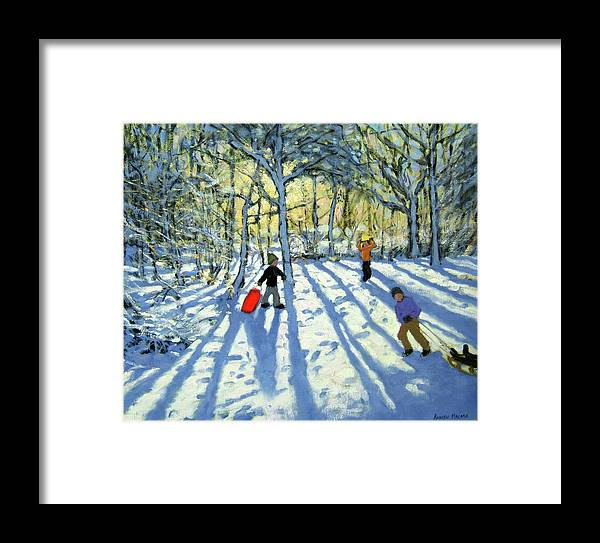 Woods Framed Print featuring the painting Woodland In Winter by Andrew Macara