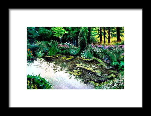 Landscape Framed Print featuring the pastel Woodland Mystery by Elizabeth Robinette Tyndall