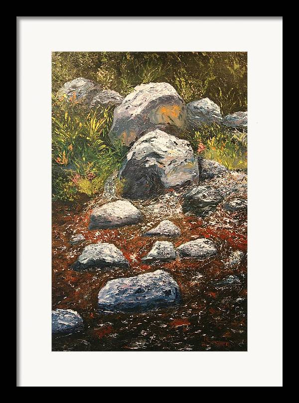 Landscape Framed Print featuring the painting Woodland Stream by Robert Tower