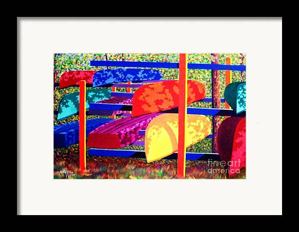 Woods Framed Print featuring the painting Woodsy Boat Rack by Hugh Harris