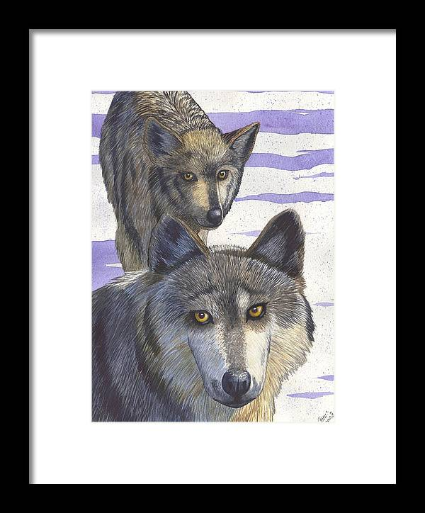 Wolf Framed Print featuring the painting Woofies by Catherine G McElroy