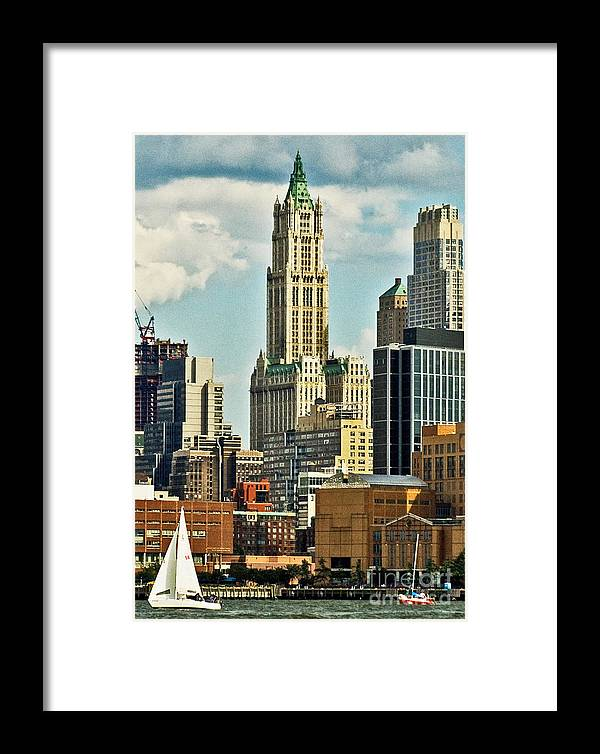 Woolworth Building Framed Print featuring the photograph Woolworth Building From Hudson River by Allan Einhorn