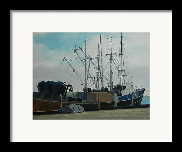 Boat Shrimpboat Work Boat Framed Print featuring the painting Work Boat At Rest by Robert Rohrich