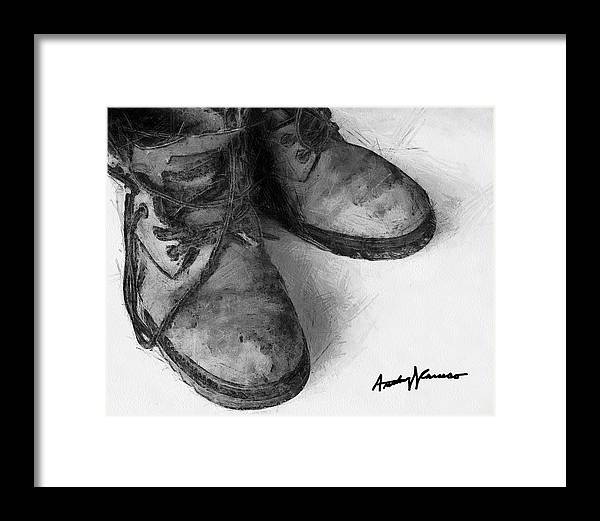 Boots Framed Print featuring the painting Work Boots by Anthony Caruso
