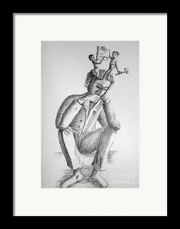 Philosophical Thoughts Framed Print featuring the drawing Work In Progress by Tanni Koens