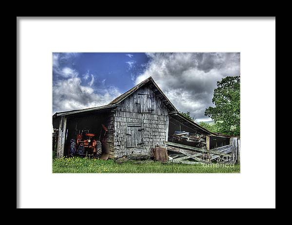 Landscape Framed Print featuring the photograph Work is all done by Pete Hellmann