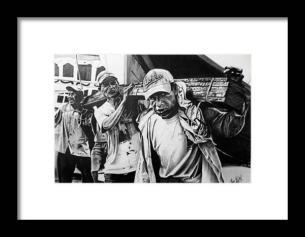 Workers Framed Print featuring the drawing Workers by Felipe Galindo