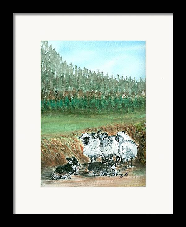 Dogs And Sheep Framed Print featuring the painting Working Girls by Laura Johnson