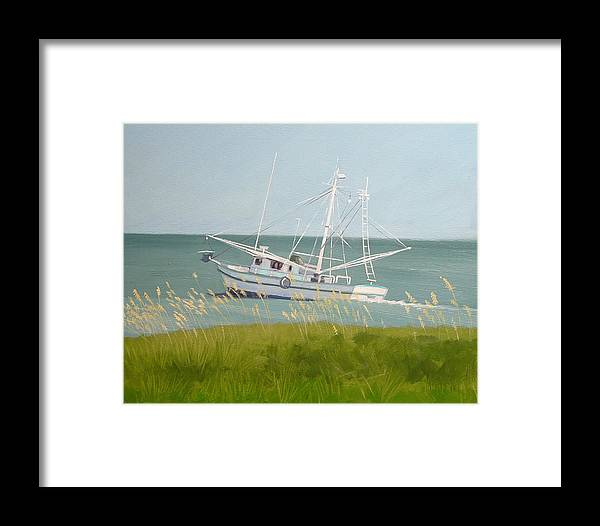 Shrimp Boat Framed Print featuring the painting Working In Close by Robert Rohrich