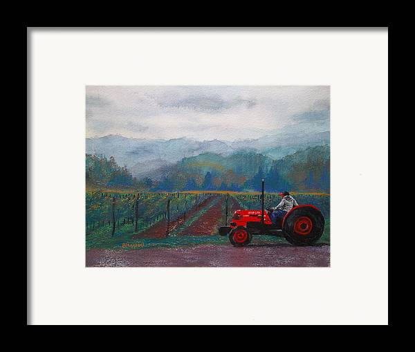Vineyard Framed Print featuring the painting Working The Vineyard by Becky Chappell