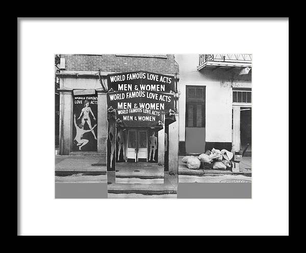 World Famous Love Acts French Quarter New Orleans Louisiana 1976 Framed Print featuring the photograph World Famous Love Acts French Quarter New Orleans Louisiana 1976-2012 by David Lee Guss
