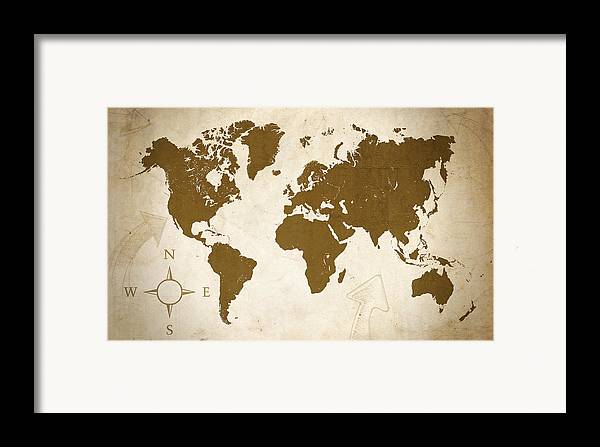Map Framed Print featuring the digital art World Grunge by Ricky Barnard