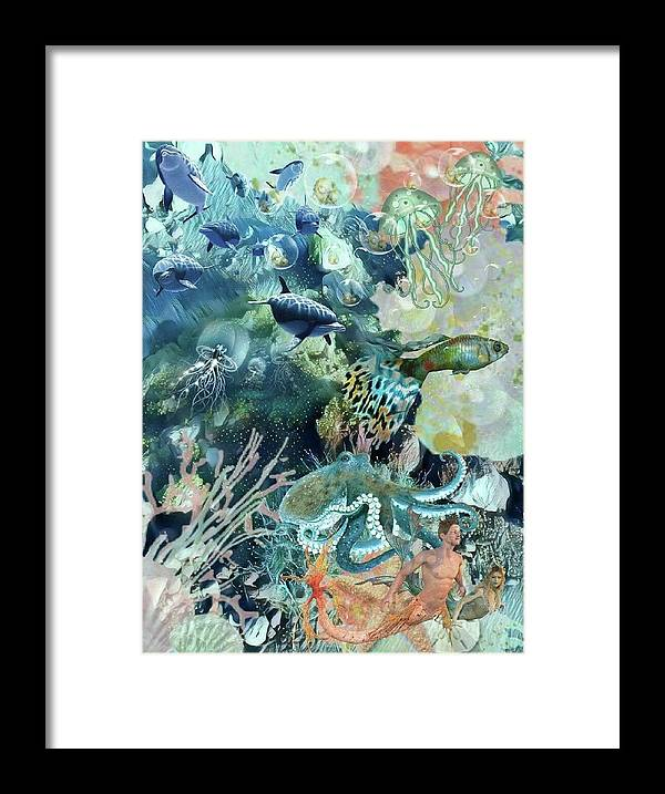 Sealife Framed Print featuring the mixed media World In The Sea by Susanne Baumann