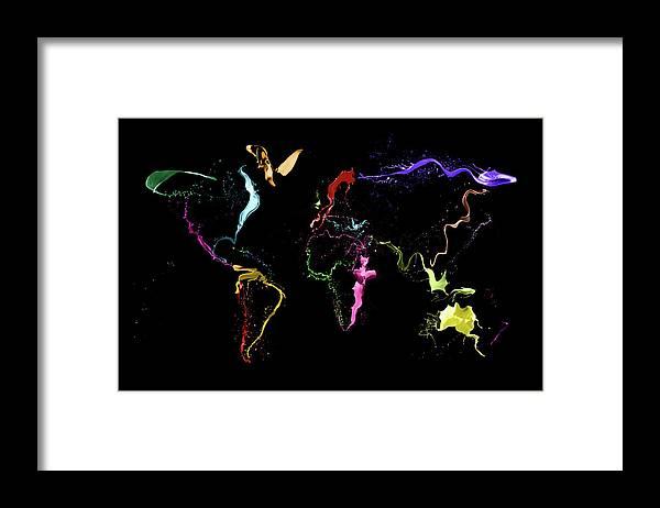 World Map Framed Print featuring the digital art World Map Abstract Paint by Michael Tompsett