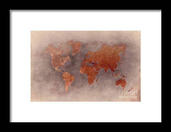 Map Of The World Framed Print featuring the digital art World map brown by Justyna Jaszke JBJart