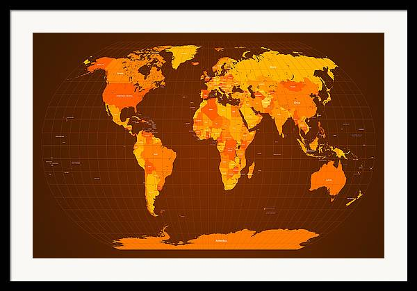 Map Of The World Framed Print featuring the digital art World Map Fall Colours by Michael Tompsett