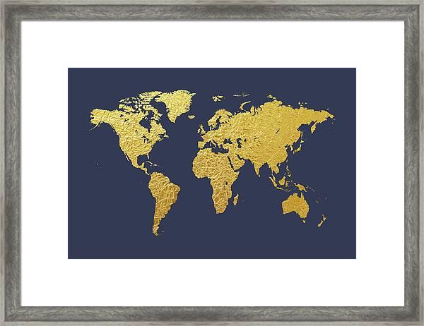 Gold Foil World Map Framed.World Map Gold Foil Framed Print By Michael Tompsett