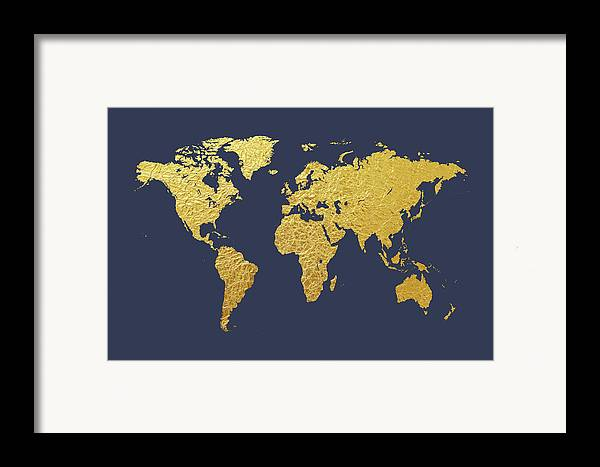 World map gold foil framed print by michael tompsett world map framed print featuring the digital art world map gold foil by michael tompsett gumiabroncs Gallery