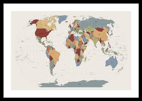 Map Of The World Framed Print featuring the digital art World Map Muted Colors by Michael Tompsett