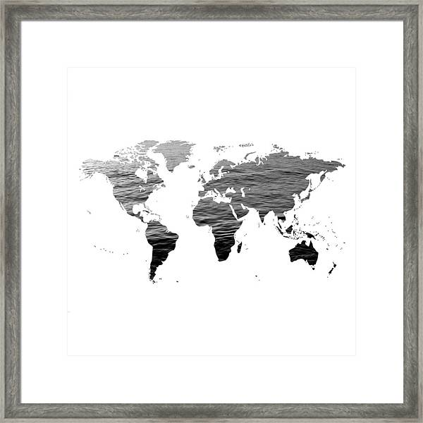 Black And White World Map Framed.World Map Ocean Texture Black And White Framed Print By Marianna