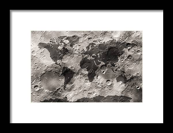 World Map Framed Print featuring the digital art World Map on the Moon's Surface by Michael Tompsett