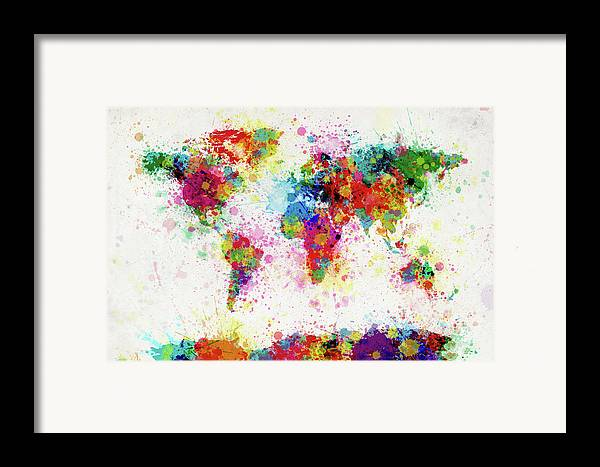 World Map Paint Splashes Framed Print featuring the digital art World Map Paint Drop by Michael Tompsett