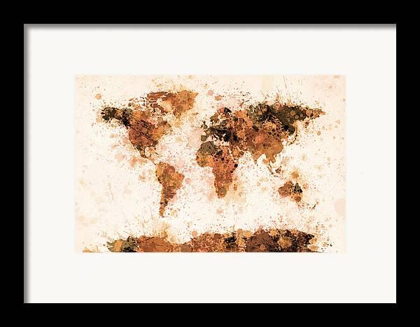Map Of The World Framed Print featuring the digital art World Map Paint Splashes Bronze by Michael Tompsett