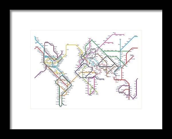 World metro tube map framed print by michael tompsett world map framed print featuring the digital art world metro tube map by michael tompsett gumiabroncs Choice Image