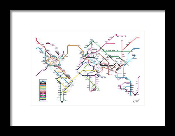 World metro tube subway map framed print by michael tompsett world map framed print featuring the digital art world metro tube subway map by michael tompsett gumiabroncs Images