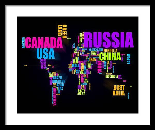 World Map Framed Print featuring the digital art World Text Map 16x20 by Michael Tompsett