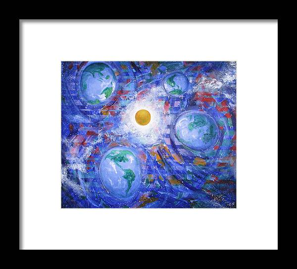 Universe Framed Print featuring the painting World View II by Rollin Kocsis