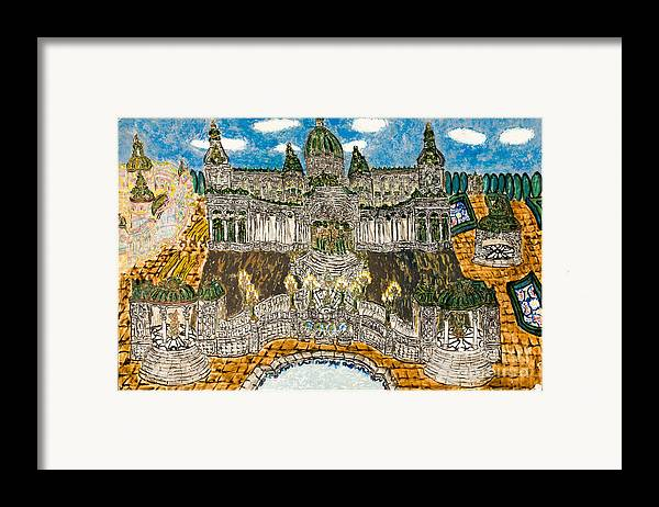 Framed Print featuring the painting Worlds Fair Pavillon Facing Promenade Of Nations by Peter Chrisler