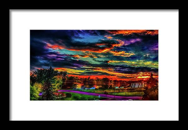 Framed Print featuring the photograph World's Most Psychedelic Autumn Sunsset by Ron Fleishman