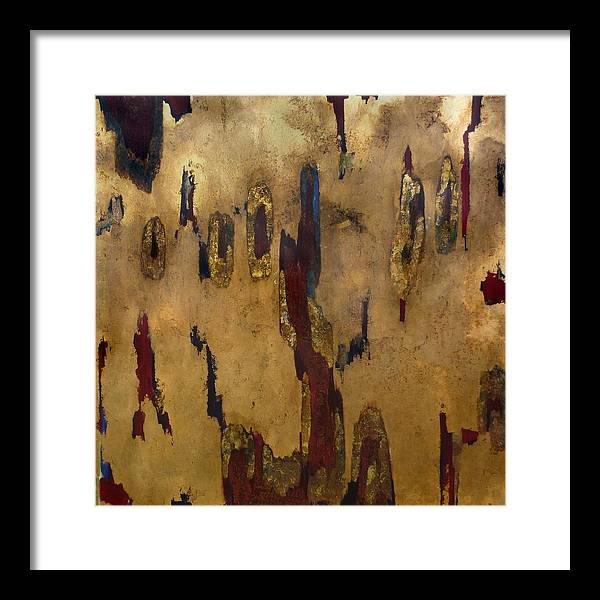 Abstract Framed Print featuring the painting Worn Through by Wayne Berger