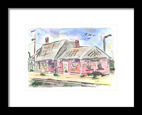 Train Framed Print featuring the painting Worthington Depot by Matt Gaudian