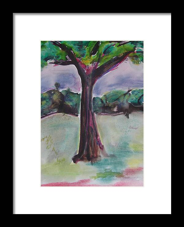 Tree Framed Print featuring the painting Wounded Tree by Rima Bidkar