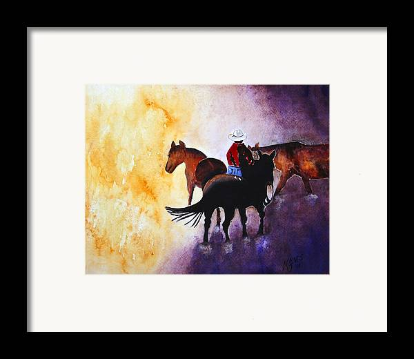 Rancher Framed Print featuring the painting Wranglers Work Day by Mary Gaines