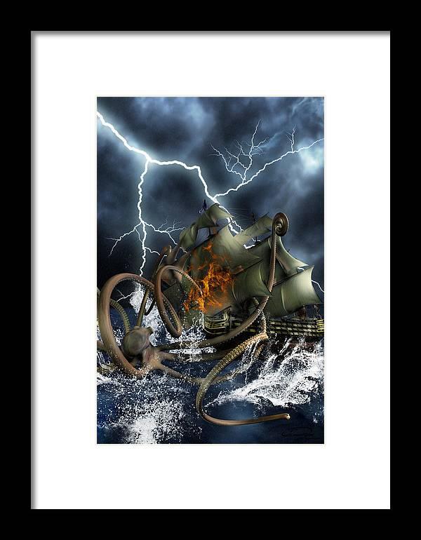 Kraken Framed Print featuring the painting Wrath Of Kraken by Emma Alvarez