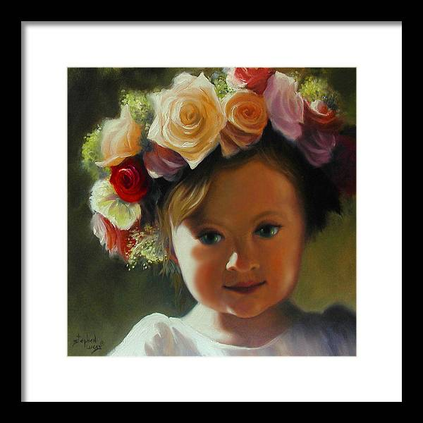 Wreath Framed Print featuring the painting Wreath Of Roses by Stephen Lucas