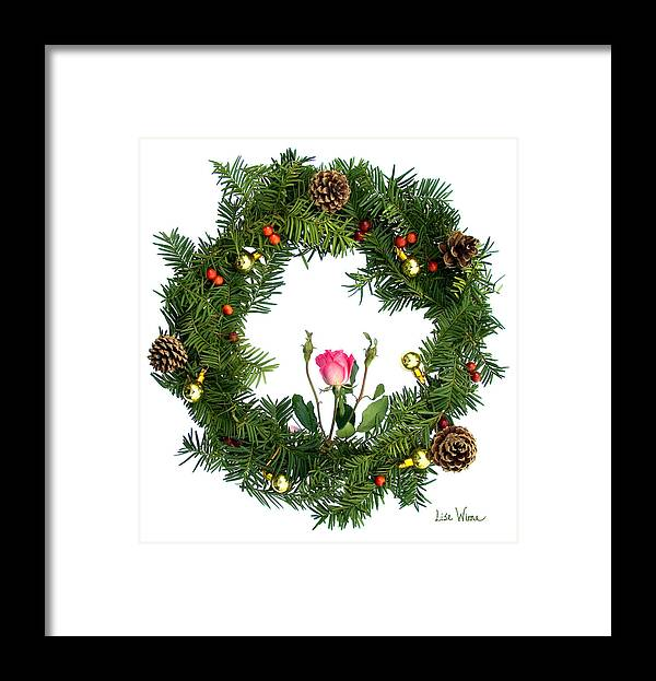 Lise Winne Framed Print featuring the digital art Wreath With Rose by Lise Winne