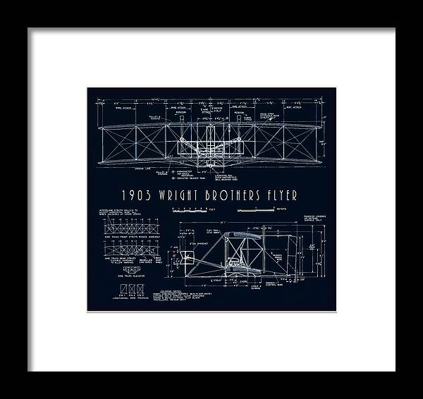 wright Bros Framed Print featuring the digital art Wright Bros Flyer Aeroplane Blueprint 1903 by Daniel Hagerman